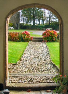 Old manor farm house doorway and path